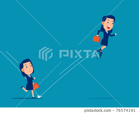 Partner uses spring to jump in front of his companion. Business competition concept 76574191