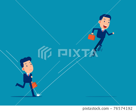 Partner uses spring to jump in front of his companion. Business competition concept 76574192