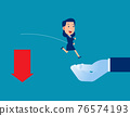 Helping hand rescuing business person. Arrow falling from downward 76574193