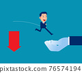 Helping hand rescuing business person. Arrow falling from downward 76574194