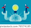Leaders gather ideas together to focus on organizational development 76574195