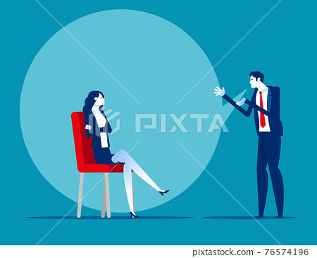 Two business partner talking with a big speech bubble 76574196