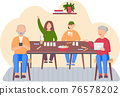 Elderly parents are using technology while playing board game at home with their children 76578202