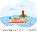 Seascape with scuba diver and submarine. Landscape of Jeju island in South Korea with lighthouse 76578224