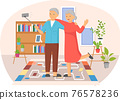 Family with selfie stick, monopod posing for photo at home. Elderly couple takes selfie at home 76578236