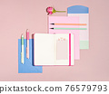 Bright feminine stationary set for college education. 76579793