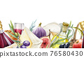 Gastronomy mediterranean seamless border. Cheese, wine, fig, olive, grapes endless decoration. Watercolor illustration. Tasty snack and wine seamless border. Food and wine on white background 76580430