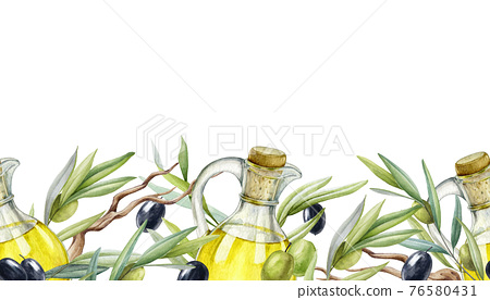 Olive branch, fruit, leaves, oil seamless border. Black and green raw organic olive plant endless element. Mediterranean decor. Olive branch with green leaves and fruit elements on a white background 76580431