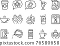 Set of coffee and tea vector line icons. Contain coffee beans, cup, coffee machine, cappuccino, hands with coffee, tea. 76580658