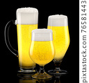 Set of fresh light beer glasses with bubble froth isolated on black background. 76581443