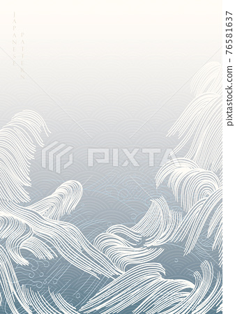 Japanese hand drawn wave background with geometric pattern vector. Line pattern banner design with line pattern in vintage style. 76581637