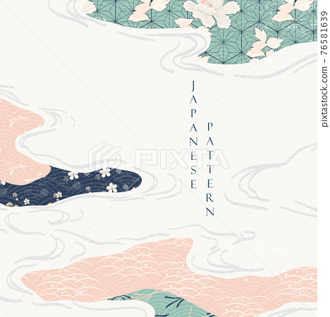 Japanese pattern with geometric background vector. Lines and abstract shape elements with watercolor texture. Curve template in Asian style. 76581639
