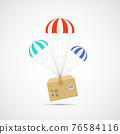 Cardboard box with goods is flying by parachute. 76584116