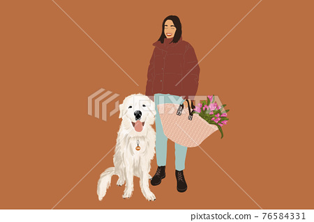 Woman walking with a big white dog 76584331