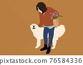 Woman walking with a big white dog 76584336