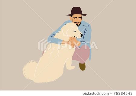 Man walking with a big white dog 76584345