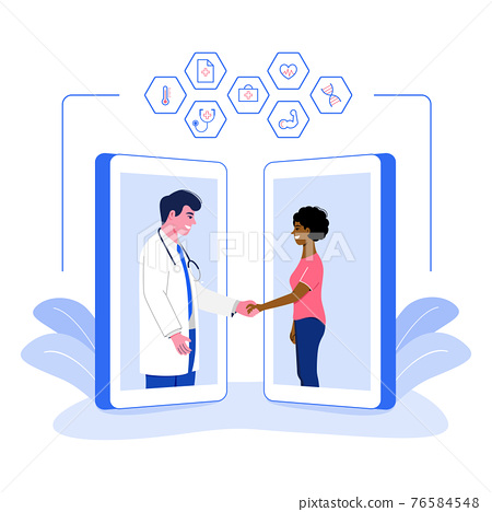 Online medical service concept. Patient meeting a doctor online using a smartphone technology and shaking hands, flat vector illustration. 76584548