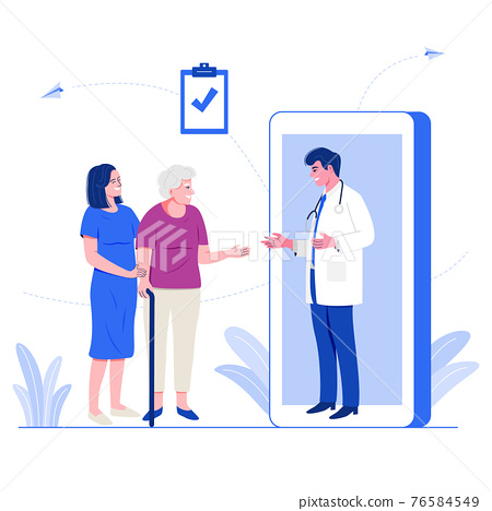 Online medical service concept. Male doctor giving advice to older patient via mobile application on smartphone. Flat character vector illustration. 76584549