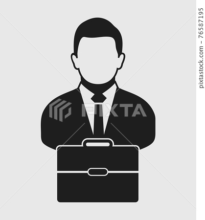 Businessman Icon with briefcase on hand. Flat style vector EPS. 76587195