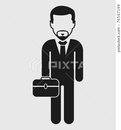 Businessman Icon with briefcase on hand. Flat style vector EPS. 76587199