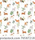 Beautiful seamless pattern with cute watercolor hand drawn dog breeds Cocker spaniel Greyhound Basset hound Poodle Bulldog and Welsh corgi pembroke . Stock illustration. 76587218