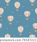 Beautiful seamless pattern with cute watercolor hand drawn air baloons with gentle flowers. Stock illustration. 76587221