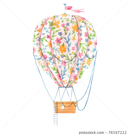 Beautiful image with cute watercolor hand drawn air baloon with gentle flowers. Stock illustration. 76587222