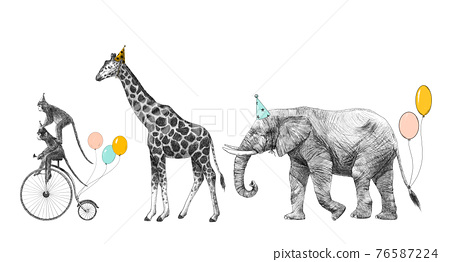 Beautiful image with safari animal birthday party. Monkey on bike giraffe and elephant with baloons. Stock illustration 76587224