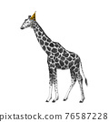 Beautiful stock illustration with cute hand drawn birthday giraffe on the party. 76587228