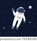 Astronaut man floating in space. star and planets on galaxy background 76589396