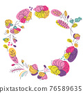 Bright colors floral summer wreath 76589635