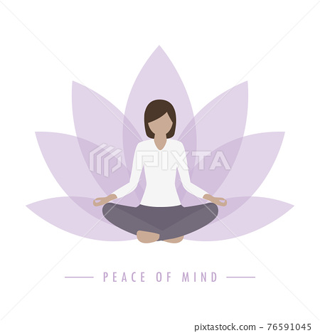 yoga girl lotus flower background peace of mind 76591045