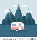 camper summer holiday on a road trip 76591046