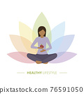 healthy yoga girl with apple on colorful lotus flower background 76591050