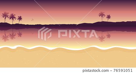 purple paradise palm beach landscape summer background 76591051