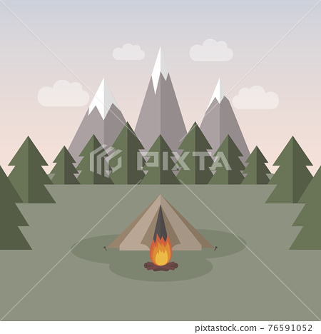 wanderlust camping adventure in the wilderness tent in snowy mountain 76591052