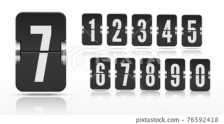 Set of flip score board numbers with reflections floating on different heights for countdown timer Vector template 76592418