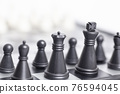Chess on the chessboard on white background 76594045
