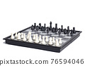 Chess on the chessboard on white background 76594046