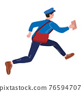Postman running with bag delivering letter in envelope. Mailman in uniform carrying mail, delivery service. Vector illustration 76594707