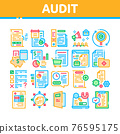 Audit Finance Report Collection Icons Set Vector 76595175