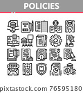 Policies Data Process Collection Icons Set Vector 76595180