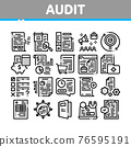 Audit Finance Report Collection Icons Set Vector 76595191
