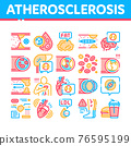 Atherosclerosis Vessel Collection Icons Set Vector Illustrations 76595199