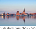 Rostock, Germany. City skyline reflecting in water of Warnow river 76595745