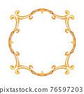 Gold vintage simple frame. Border, decorative design element 76597203