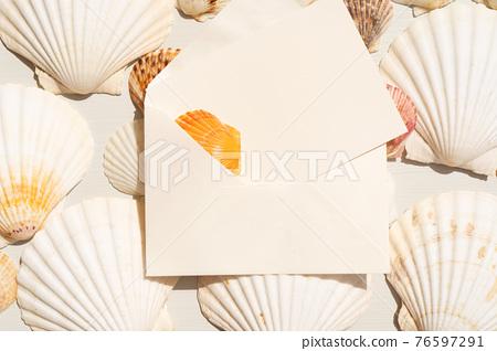 Sea shells styled stock scene 76597291