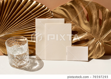 Golden leaves styled stock scene 76597293
