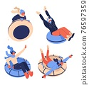 Snow tubing people isolated on white. Vector collection of various cartoon characters riding ice donuts and smiling 76597359