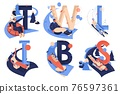 Letters collection for sledding sport activities. T for tubing, W for wok racing, L for luge, I for ice blocking, B for bobsleigh, S for skeleton isolated on white 76597361